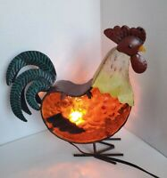 """TING SHEN Hollow Light Up ROOSTER Table Lamp  Aluminum/Glass Mid Century Mod 11"""""""