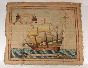 VTG Needlepoint Sampler of the Historic Ship Mayflower John Alden Priscilla Boat