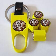 VW Volkswagen jaune DUST VALVE CAPS et clé Limited tous les modèles Boxed