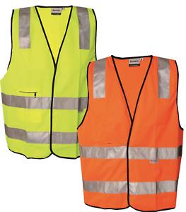 Hi Vis Viz Vest Gilet Visability Vests Reflective Safety Waistcoat Orange Yellow