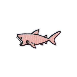 Pink Cute Shark Embroidered Iron On Sew On Patch Fabric Applique Badge Bag Hat