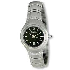 Bulova Silver Tone Band Black Dial Date Women's Watch 96M33 MSRP $250!!!!