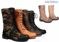 Combat  Military Round Toe Low Heel Lace Up Mid-Calf Boot Shoes Size 5.5 - 11