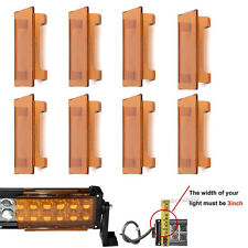 """8pcs 6"""" inch Snap on Amber Lens Cover for 50"""" LED Light Bar Offroad 24"""" 52"""" 32"""""""