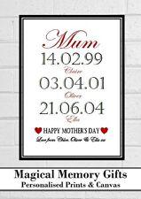 Birthday gift mum mummy nanna grandma our story dates personalised print gift a4