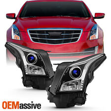 For 2013-2018 Cadillac ATS Sedan Halogen Projector Chrome Headlights Left+Right