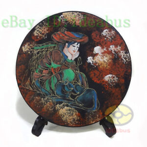 """Chinese Folk Art HandPainted ⌀11""""Wood Plate wall hanging tabletop decor: Yearn"""