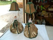"""Pair Art Deco Porcelain Lady in Dress Dresser Lamps Antique 16"""" + Shade Old"""