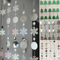 Christmas Curtain Snowflakes Sequins Glitter Xmas Tree Home Party Window Decor