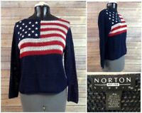 Womens PM Medium USA Flag Norton Studio American Flag Crotchet Sweater Vintage