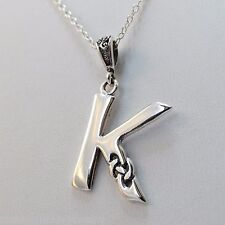 Celtic Initial Letter K Necklace - 925 Sterling Silver - Celtic Knot Initial NEW