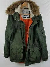 Hawksworth Mens Parka Coat Fur Hooded Fleece Lined Medium M Green Winter Warm