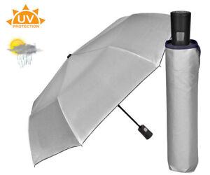 Premium Umbrella Sun UV Protection Rain & Wind Resistant - Automatic - Silver