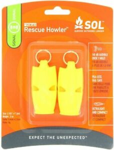S.O.L. SURVIVE OUTDOORS LONGER HOWLER WHISTLE TWO PACK (0140-1002) - BRAND NEW