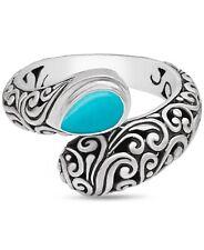 DEVATA Bali Sterling Silver 925 Bypass Ring Torquoise DVM8537TQ Sz 6-9