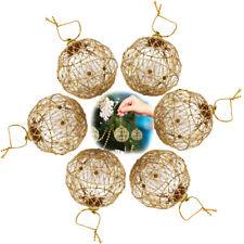 6pcs Christmas Glitter Balls Xmas Tree Ornaments Gold Hanging Ball Holiday Decor