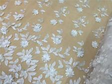 """51"""" 3D Off White Bridal Lace Fabric Pearls Corded Embroidery Wedding Lace 1/2 Y"""