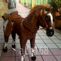 Christmas 90CM Giant Simulation War Horse Ridable Doll Toy Animal Plush Kid Gift
