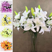10PCS Heads Bouquet Artificial Fake Lily Flowers Party Bunch Decoration Hot