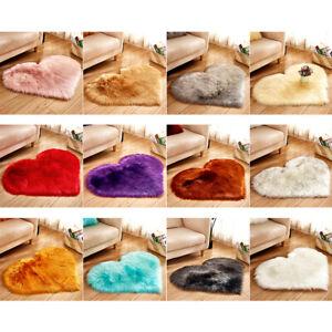 Shaggy Carpet Wool Faux Fluffy Mats Artificial Hairy Mat Love Heart Rug 30x40cSJ