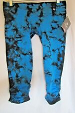 ❤️ NUX USA Legging Low Rise Ruched Capri PANT Blue & Black TIE DYE P556 Large