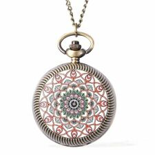 Strada Japanese Movement Red Flower Pattern Rotating Pocket Watch in Silvertone