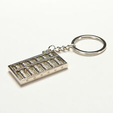 Silvery Chinese Accounting Tool 6 Rows Abacus Key Chain Ring Keychain Key OZ