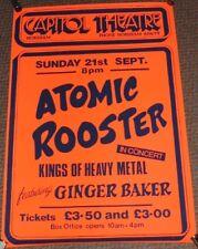 ATOMIC ROOSTER GINGER BAKER RARE CONCERT POSTER SUNDAY 21st SEPT 1980 HORSHAM UK