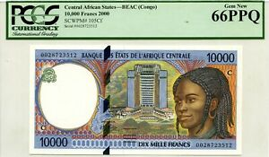 CONGO 10000 FRANCS 2000  PICK 105 Cf CENTRAL AFRICAN STATES LUCKY MONEY $360