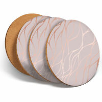 4 Set - Rose Gold Marble Effect Coasters - Kitchen Drinks Coaster Gift #2452