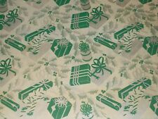 VTG CHRISTMAS WRAPPING PAPER GIFT WRAP NOS 1940s PRESENTS PACKAGES SILVER GREEN