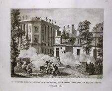 Révolution Française Paris 1789 Régiment Royal Allemand Rare Gravure d'époque