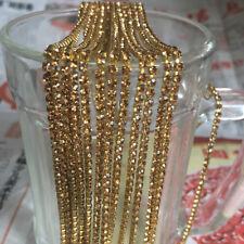 SS8 (2.5mm) Crystal Rhinestone Close Chain Trim Sewing Craft DIY Crystal Chain F
