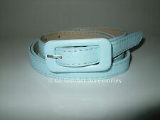 Ladies Womens Skinny Thin Faux Leather Waist Buckle Belt