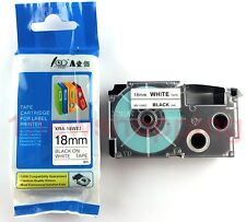 Great quality Compatible for Casio Tape 18mm BLACK on WHITE Label  XR-18WE1