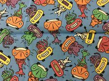 DRIVING ZOO ANIMAL COTTON FABRIC   BY THE YARD
