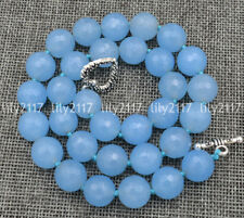 Natural Faceted 12mm Aquamarine Gems beads Necklace Tibetan silver love clasps
