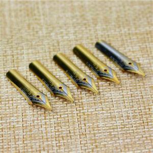 5PCS Universal Medium Sliver/Gold Nib Fountain Pen Replacement Nibs Practical