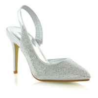 Womens Bridal Shoes Diamante Satin Ladies Slingback Party Prom Point Toe Courts
