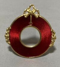 Joan Rivers Round Ribbon Frame - Faberge Design - Red Enamel/Gold Accents 2�