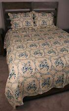 King Quilt Set Cottage Chic Shabby Nostalgia Blue Rose Cotton