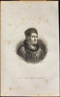 Portrait (1838) - René d'Anjou (Le Bon Roi René) - Roi de Laples - Gravure