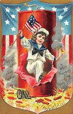 FIRECRACKER JULY 4TH HOLIDAY PATRIOTIC TUCK POSTCARD (c. 1908)**