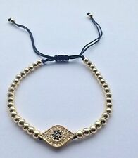 EVIL EYE BLACK ADJUSTABLE BRAIDED MACRAME BRACELET W/ CUBIC ZIRCONIA GOLD PLATE