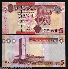 LIBYA 5 DINARS NEW 2011 CAMEL TOWER UNC AFRICA ANIMAL CURRENCY MONEY BANK NOTE