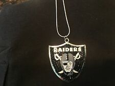 OAKLAND RAIDERS NECKLACE~NFL ~ FOOTBALL CRYSTAL~SPARKLY JEWELRY 22""