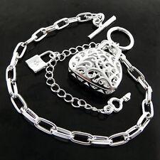 Antique Key Padlock Charm Bag Design Bracelet Bangle Real 925 Sterling Silver Sf