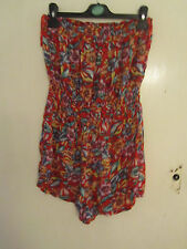 New Look Multicoloured Tropical Floral Bandeau Strapless Playsuit in Size 8