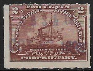 R. B. S. & Co. HAND STAMP CANCEL  on 2c RB24 1898 Battleship Revenue Stamp