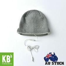 Warm Soft Beanie Hat Smart Headset Headphones Speaker White With Black Stripes